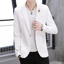66a7fd5a17976 Jolie pochette hommes vestes noir gris blanc 2019 nouveau été mode jeunes  hauts vêtements de haute qualité Slim Fit hommes costu.