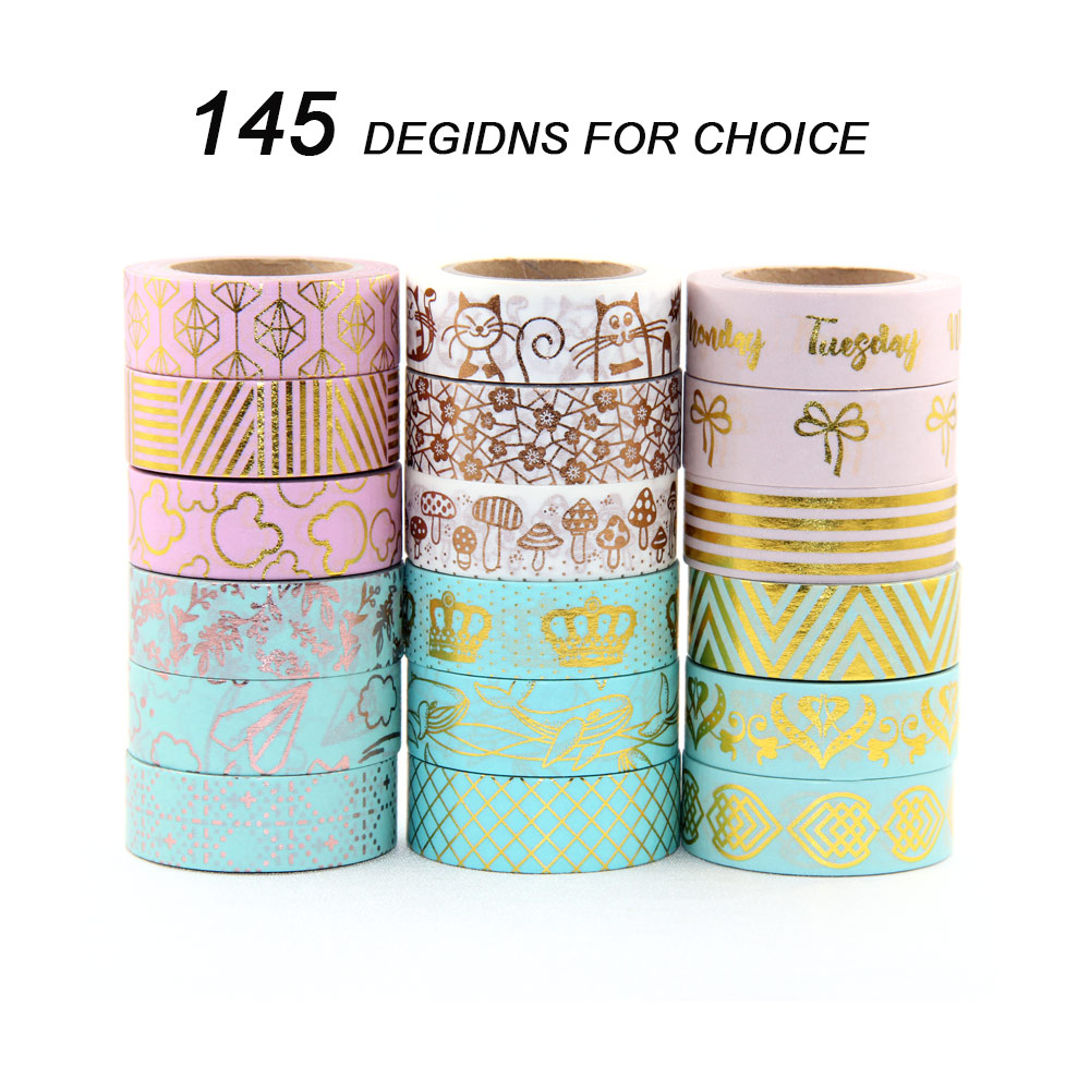 30pcs/lot New 15mmx10m Japanese Washi Tape DIY Masking Tape Foil Washi Tape Set Scrapbooking Adhesive Masking Tape Stickers