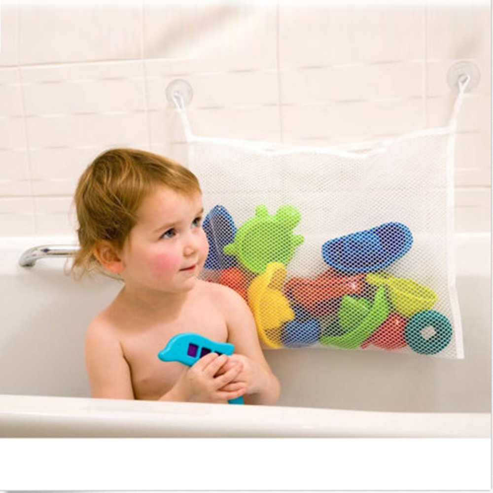 1pcs 37*37 cm Baby Bathroom Mesh Bag Child Bath Toy Bag Net Suction ...