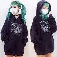 Japan Manga Anime Japanese Letter Cartoon Print Hooded Sweatshirts Korean Goth Femme Men Pullover Jumper Hoodies Fleece Top