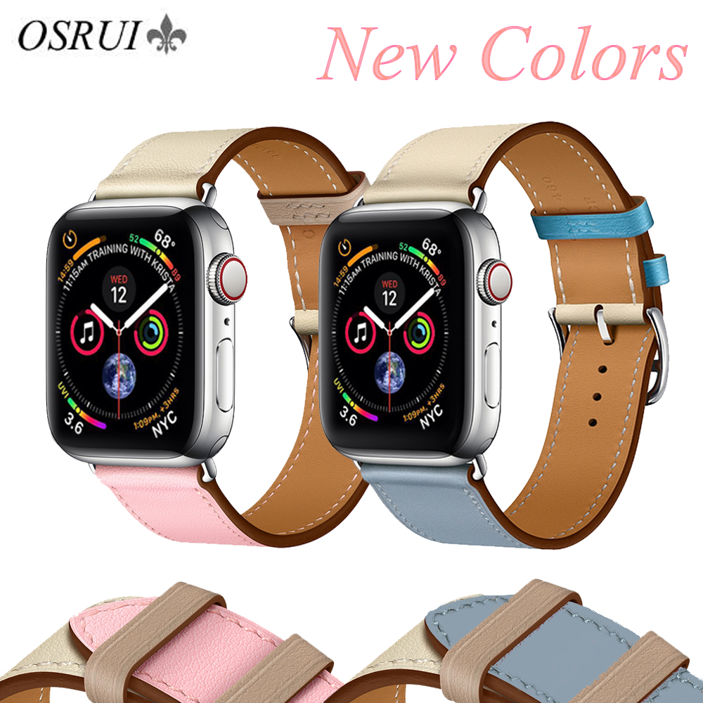 OSRUI Leather strap for Apple watch band 4 44mm 40mm correa aple 42mm 38mm iwatch 3 band wrist bracelet belt watch AccessoriesOSRUI Leather strap for Apple watch band 4 44mm 40mm correa aple 42mm 38mm iwatch 3 band wrist bracelet belt watch Accessories