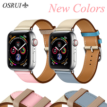 OSRUI Leather strap for Apple watch band 4 44mm 40mm correa aple 42mm 38mm iwatch 3 band wrist bracelet belt watch Accessories leather strap for apple watch band correa aple watch 42mm 38mm bracelet wrist wristband for iwatch series 3 2 1 replacement belt