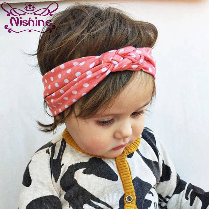 Nishine Infant Dot Newborn Hairbands Baby Girl Twisted Headdress Hair Bands Bandana Head Wrap Hair Accessories Party Gift