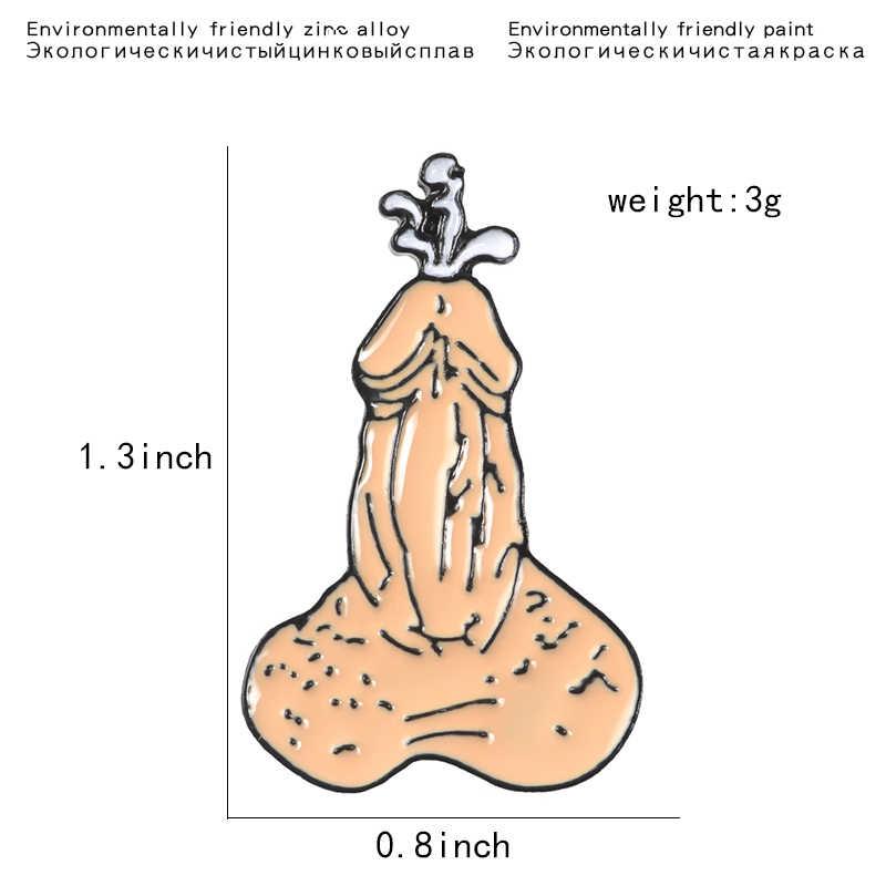 Grappige Kwaad Mannelijke Genitale Emaille Pin Badge Rugzak Denim Shirt Jeans Reversspeldjes Cool Orgel Broche Sieraden