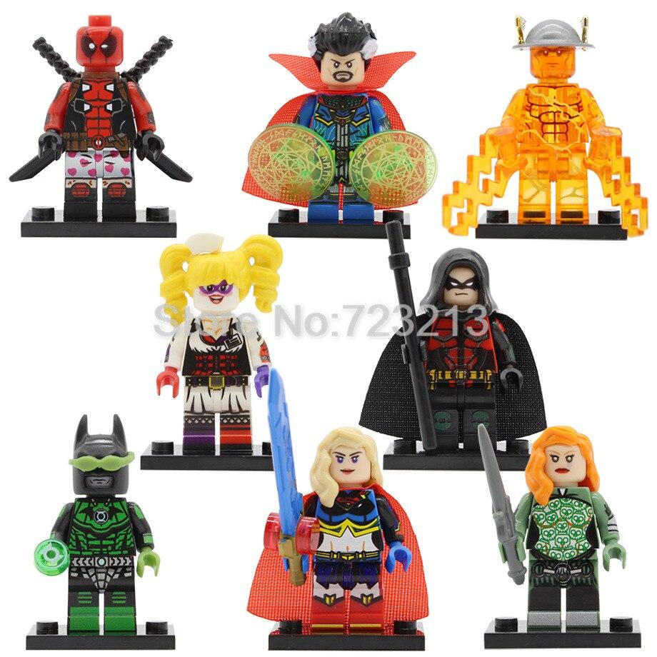 Super Hero PG8164 Figure Aurora Deadpool Harley Quinn Robin Doctor Strange Supergirl The Dawnbreaker Flash Buidling Blocks Toys