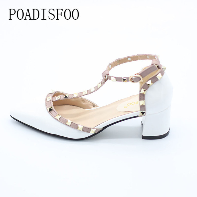 POADISFOO 2017 New women's Shoes Rivets T Belt Buckle Hollow Pointed high-heeled Patent Leather High Heels Shoes .XXXY-722