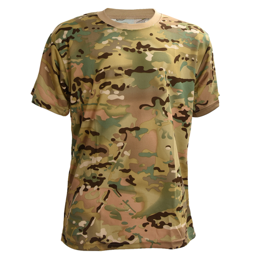 ELOS-Summer Outdoors Hunting Camouflage T-shirt Men Breathable Army Tactical Combat Dry Sport Camo Outdoor Camp Tees CP 2XL