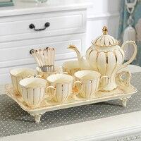 Европейский набор кофейных чашек подставка для чайника роскошный чайный сервиз костяный фарфор сахарница чайное время дневные Креативные