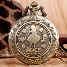 Vintage Style Women Girl Copper Classic Gift Round Pocket Watch Full Hunter Fob Watch Alice in Wonderland Necklace Chain