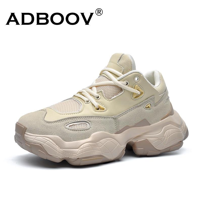 ADBOOV 2019 nuevas zapatillas de deporte de cuero genuino de los hombres de las mujeres Plus tamaño 35-47 de grueso zapatos transpirables zapatos casuales de plataforma