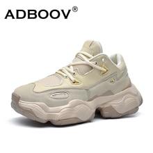 Adboov 2019 novos tênis de couro genuíno das mulheres dos homens mais tamanho 35 47 designer sapatos grossos plataforma respirável sapatos casuais