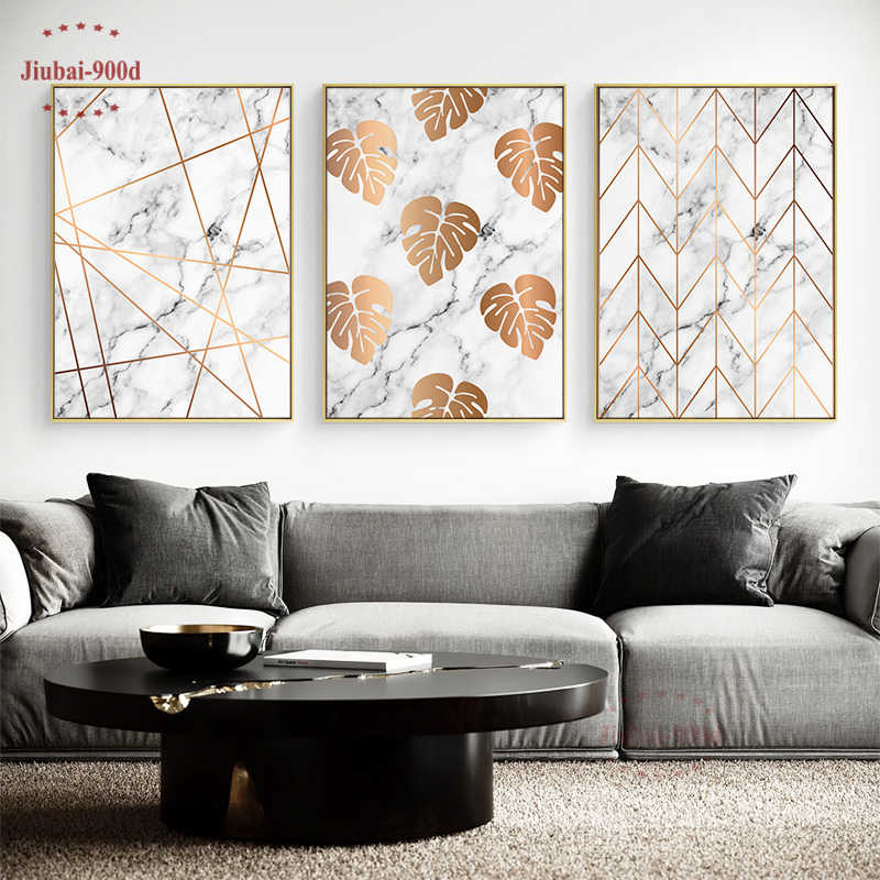 900D Gold Leaf in Marble Wall Art Canvas Painting Wall Pictures For Room Decoration Nordic Art Canvas Posters and Prints SAN05