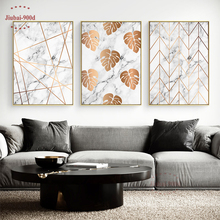 900D Gold Leaf in Marble Wall Art Canvas Painting Pictures For Room Decoration Nordic Posters and Prints SAN05
