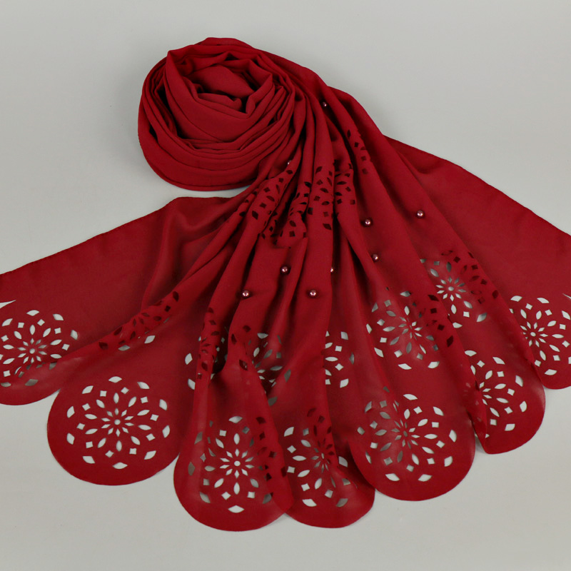 Nice Colored pearl bubble chiffon laser cut floral beads hollow shawls hijab popular muslim 20 color