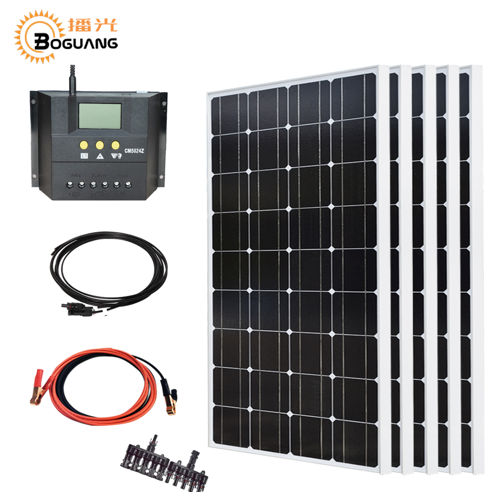 Boguang 500w kit 5*100w soalr panel Photovoltaic module 12v/24v 50A controller cable MC4 connector for power charger boguang 500w semi flexible solar panel solar system efficient cell diy kit module 50a mppt controller adapter mc4 connector
