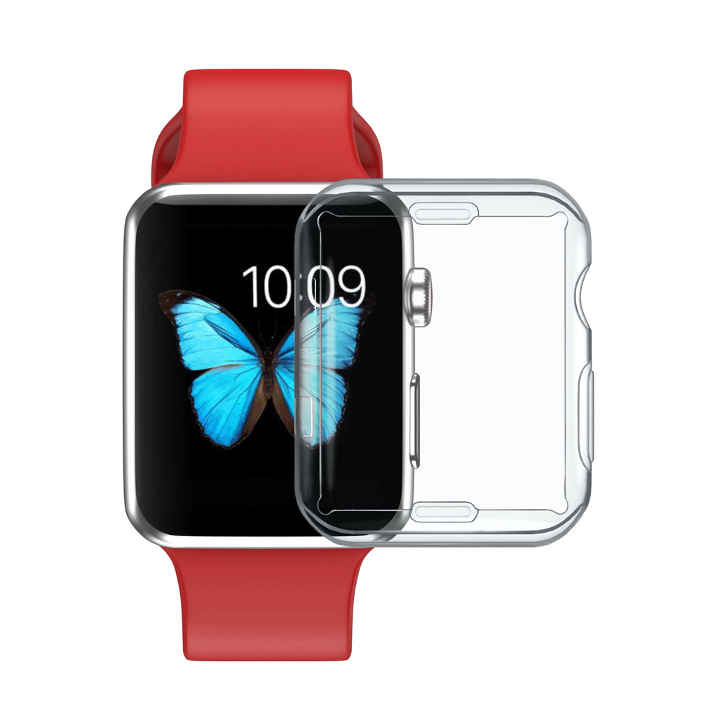 Silicone Soft Protector case cover for apple watch band 42mm 38mm Ultra-thin Clear shell for iwatch 321 Accessories