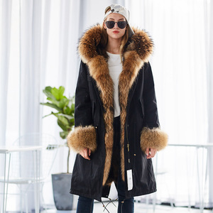 Image 5 - Mao mao kong  Winter Woman natural fur overcoat plus size Women parkas black raccoon fur lining X long warm jacket coats