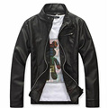 Black Faux Leather Jacket Men Fashion Mandarin Collar Long Sleeve Windbreaker Jacket Solid Color chaqueta cuero hombre Size M