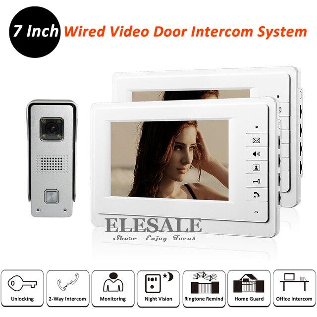 "New Video Door Intercom System Video Door Phone Doorbell 1-Out 2-In Night Vision Weatherproof 700TVL Camera + 7"" LCD Monitor"
