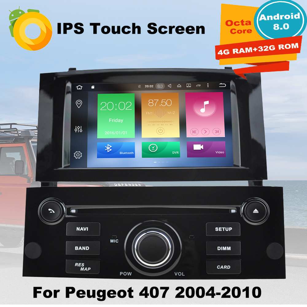 4G RAM Android8.0 Car DVD GPS Multimedia Player For Peugeot 407 2004 2005 2006 2007 2008 2009 2010 Auto radio Navigation Stereo 7 touch screen car dvd stereo player for mazda3 mazda 3 2004 2005 2006 2007 2008 2009 bluetooth radio gps navigation system