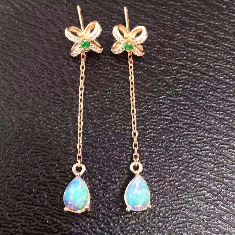 Natural opal gem drop earrings 925 silver natural gemstone earrings Stylish elegant women bow-knot Slender Earrings jewelry pair of elegant faux gem bead water drop earrings for women