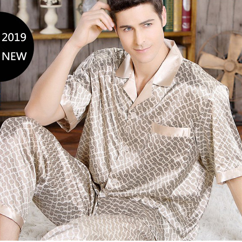 new summer mens pajama set short sleeve trousers stain. Black Bedroom Furniture Sets. Home Design Ideas