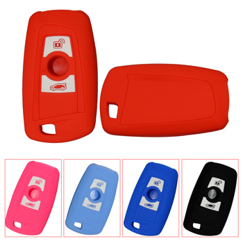 2 Buttons Silicone Rubber Car Key Case Protector Replacement For BMW 1 2 3 5 7 Series F10 F20 F30 335 328 535 650 Auto Key Cover image