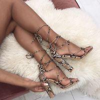 JINJOE Women shoes Prints Snakeskin grain Sandals Gladiator Pumps Super High Heels Square heel Lady Lace Up Party Sandals Shoes