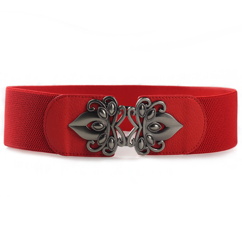 HUOBAO Casual Red Leather Elastic Belts For Women Female Girdle Vintage Metal Buckle Waistband