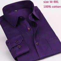 Stripe 100% cotton new arrival mens fashion male autumn super large high quality formal long-sleeve shirt plus size M-7XL8XL9XL
