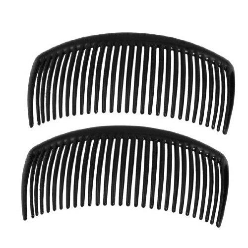 New 2 Pcs Ladies Practical Superior Black Plastic Comb Hair Clip Clamp