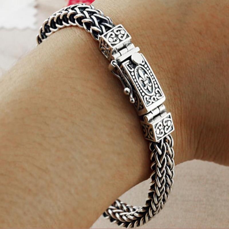 Real 925 Sterling Silver Bracelet For Men Women Width 8mm Vintage Punk Rock Wire cable Link