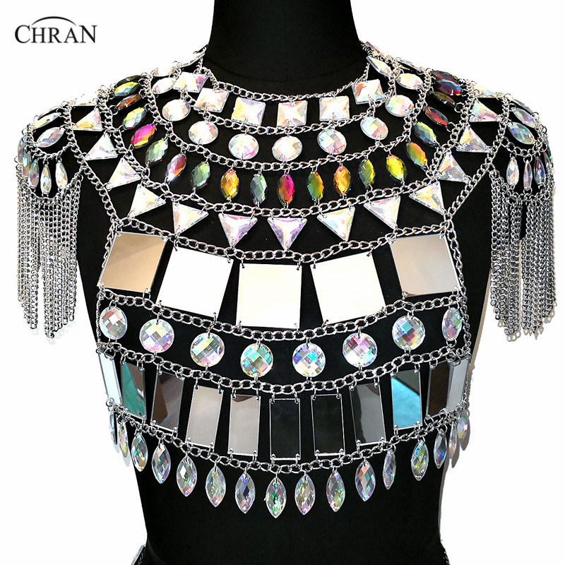 Chran Acrylic Crop Top Bra Halter Unique Women Sexy Tassels Shoulder Necklace Body Chain green sexy self tie design button crop top