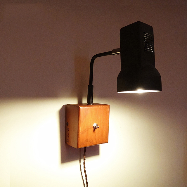 Vintage Loft Wall Lamp With Switch Brief Rocker Arm Lights Bedroom Sconce Wooden Base Iron Shade