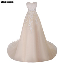 Champagne Wedding Dress Long Elegant Wedding Dresses Lace Bridal Gowns A Line Beaded vestido de noiva Sequined robe de mariee