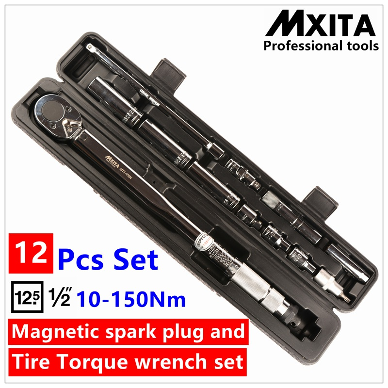 Mxita 12 Pcs Ratchet Wrench kit Magnetic spark plug and tyre whorl torque wrench Set Car repair tool 1/2 10-150NM hand tool set mxita 5 pcs magnetic spark plug torque wrench set click wrench adjustable torque wrench hand spanner repairing hand tool set