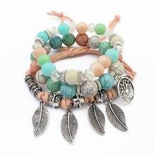 Aiqiyimei 3 Pcs Set Bohemia Vintage Owl Beads Crystal Leaf Charm Bracelets Bangles Candy Beaded For Women Brace Lace