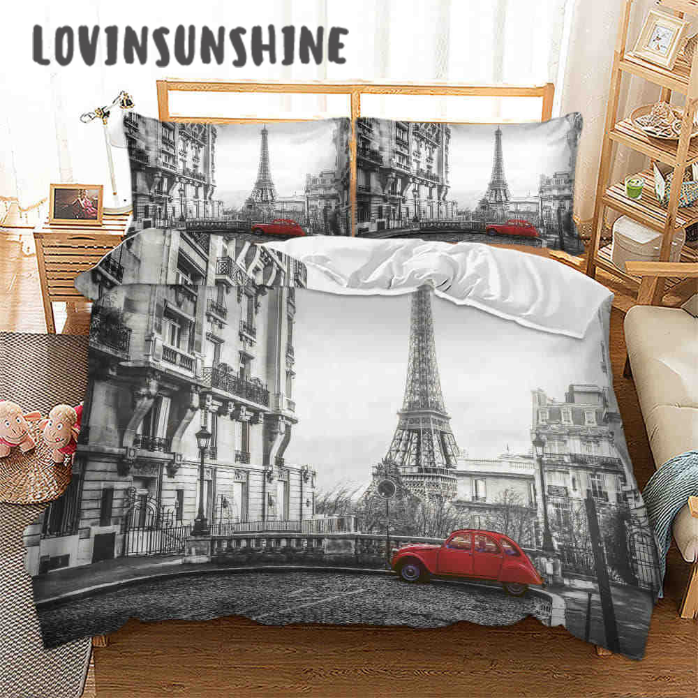 LOVINSUNSHINE Bed Linen Set Queen Comforter Sets City View 3d Digital Printing Parrure De Lit AB#65Bedding Sets   -