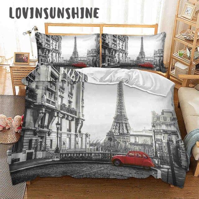 LOVINSUNSHINE ผ้าปูที่นอนชุดผ้าคลุมเตียง Queen ชุด City View 3D การพิมพ์ดิจิตอล Parrure De Lit AB #65