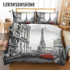 Image 1 - Lovinsun أغطية سرير مجموعة الملكة مجموعات لحاف السرير مدينة عرض ثلاثية الأبعاد الطباعة الرقمية Parrure دي مضاءة AB #65