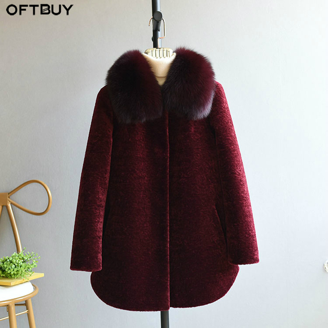 OFTBUY 2020 חורף מעיל נשים אמיתי פרווה מעיל גז כבשים מעיל נשי צמר בגיל העמידה אמא טבעי שועל פרווה צווארון עבה חם