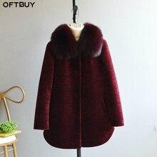 Oftbuy 2020 jaqueta de inverno feminino casaco de pele real ovelha shearing casaco feminino lã de meia idade mãe natural gola de pele de raposa grosso quente