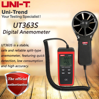 UT363S Mini Digital Wind Speed Gauge Auto Range Wind Speed Gauge Temperature Air Flow Tester for Weather Data Collection Outdoors Use Anemometer LONGJUAN-C Windmeter Digital Handheld Anemometer
