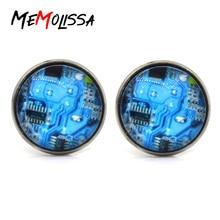 Promotion!!!  1 Pair blue Computer Circuit Board picture Cufflinks Computer Geek Cufflinks Nerd Accessories Gift Unisex