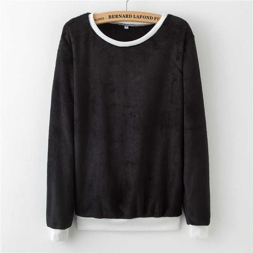 Harajuku סגנון נשים צמר חם חולצות מוצק צבע שחור נשים חורף נים ארוך שרוול אימונית נשים חולצות חמות