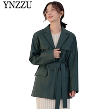YNZZU 2019 Autumn women tailored leather jacket Solid with belt long PU ladies winter coat Pocket loose female outwear YO824