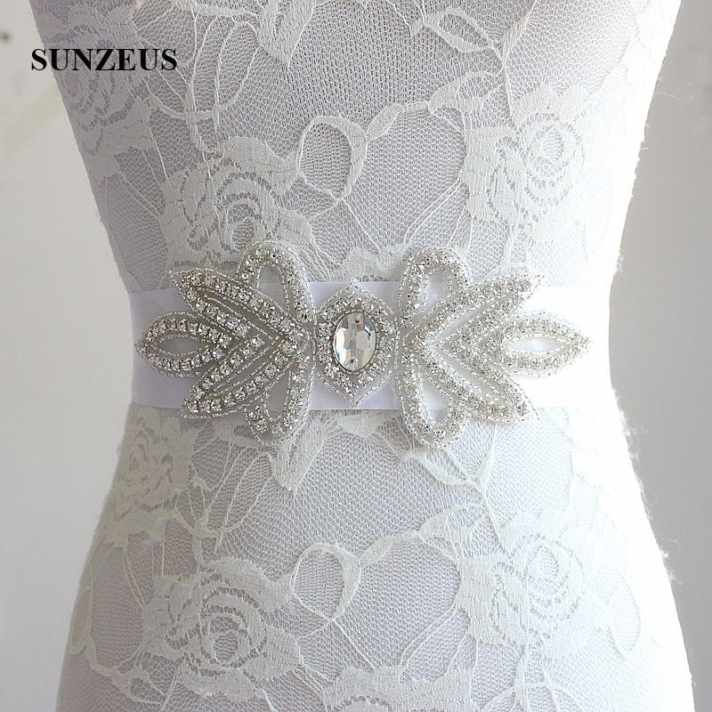 Luxurious Beaded Rhinestones Bridal Belts White Wedding
