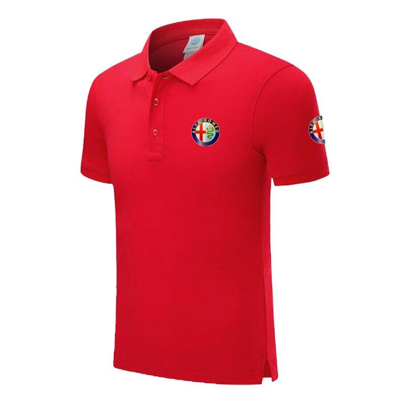 Polo   Shirt Alfa Romeo logo Casual Solid shirt Short Sleeve Cotton printed   Polos