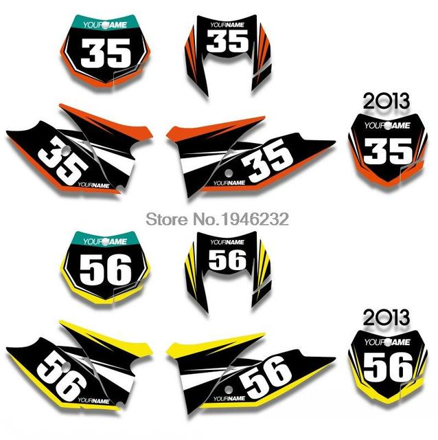 Custom number plate backgrounds graphics sticker decals for ktm 125 200 250