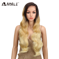 NOBLE Ombre Wig Body Wave Side Part Lace Front 150 Density 28 Inches Long Blonde Heat Resistant Synthetic Wigs For Black Women